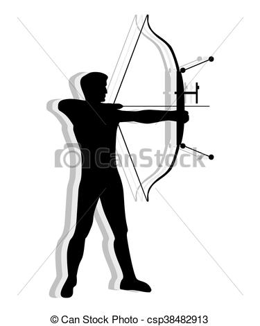 375x470 Competitive Man Practicing Archery. Silhouette Of Man Vector