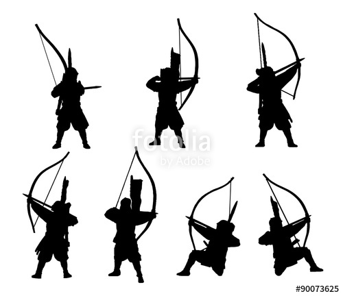 500x432 Mounted Samurai Archers Silhouette Set Stock Image And Royalty