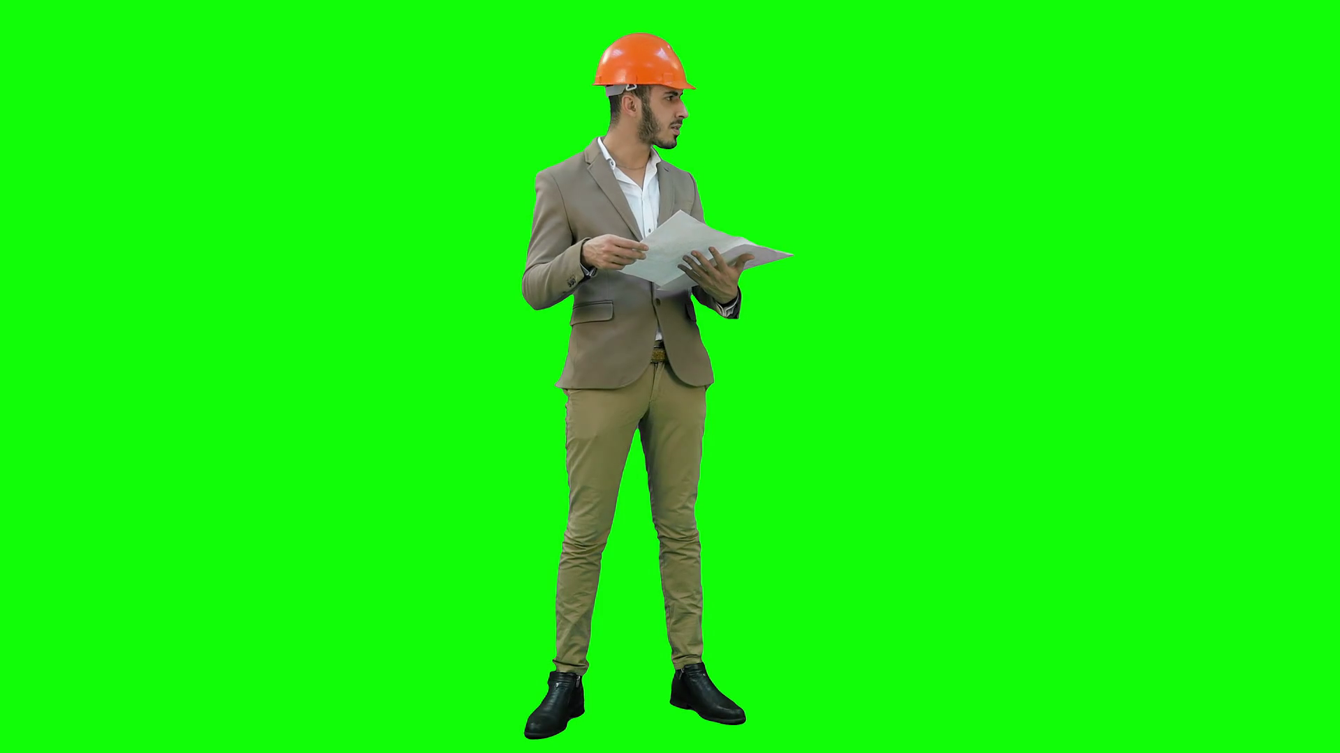 1920x1080 Young Architect In Helmet Checking Construction Plans On A Green