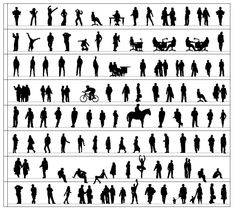 236x212 Free Vector Silhouettes Of People Standing, Sitting, Walking