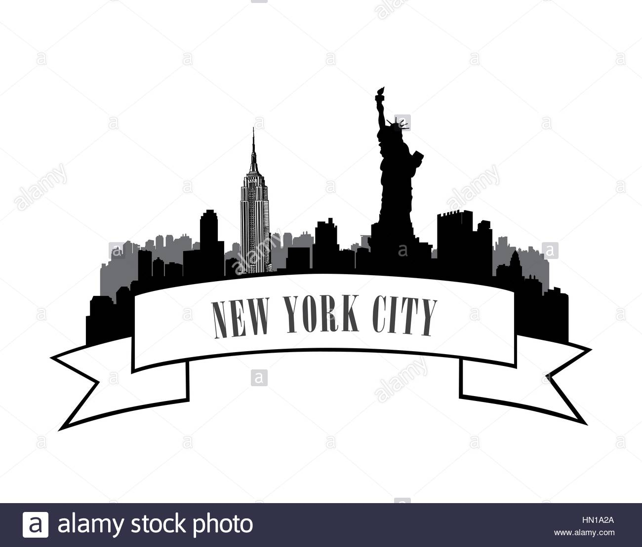 1300x1109 New York, Usa Skyline Sketch. Nyc City Silhouette With Liberty