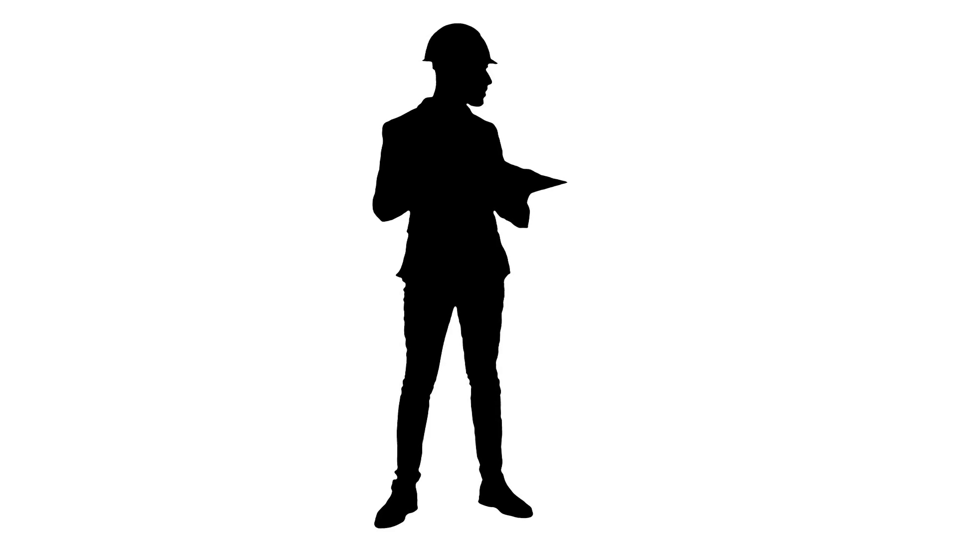 1920x1080 Silhouette Young Architect In Helmet Checking Construction Plans