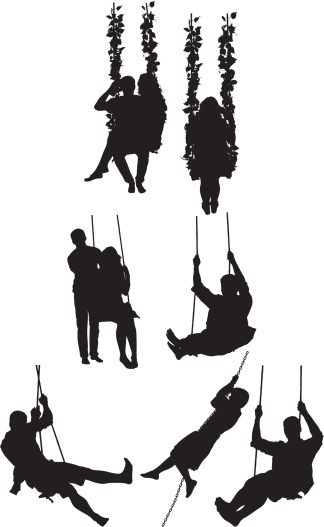 324x527 Vectores Libres De Derechos Silhouette Of People On Swing