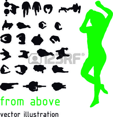 435x450 People Top View Vector Silhouettes Du Haut Silhouette