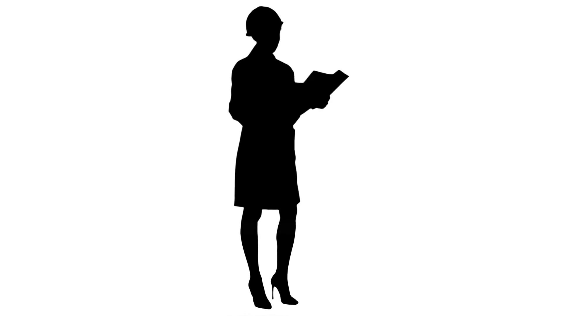 1920x1080 Silhouette Female Architect In Helmet Reading Contract And Nodding