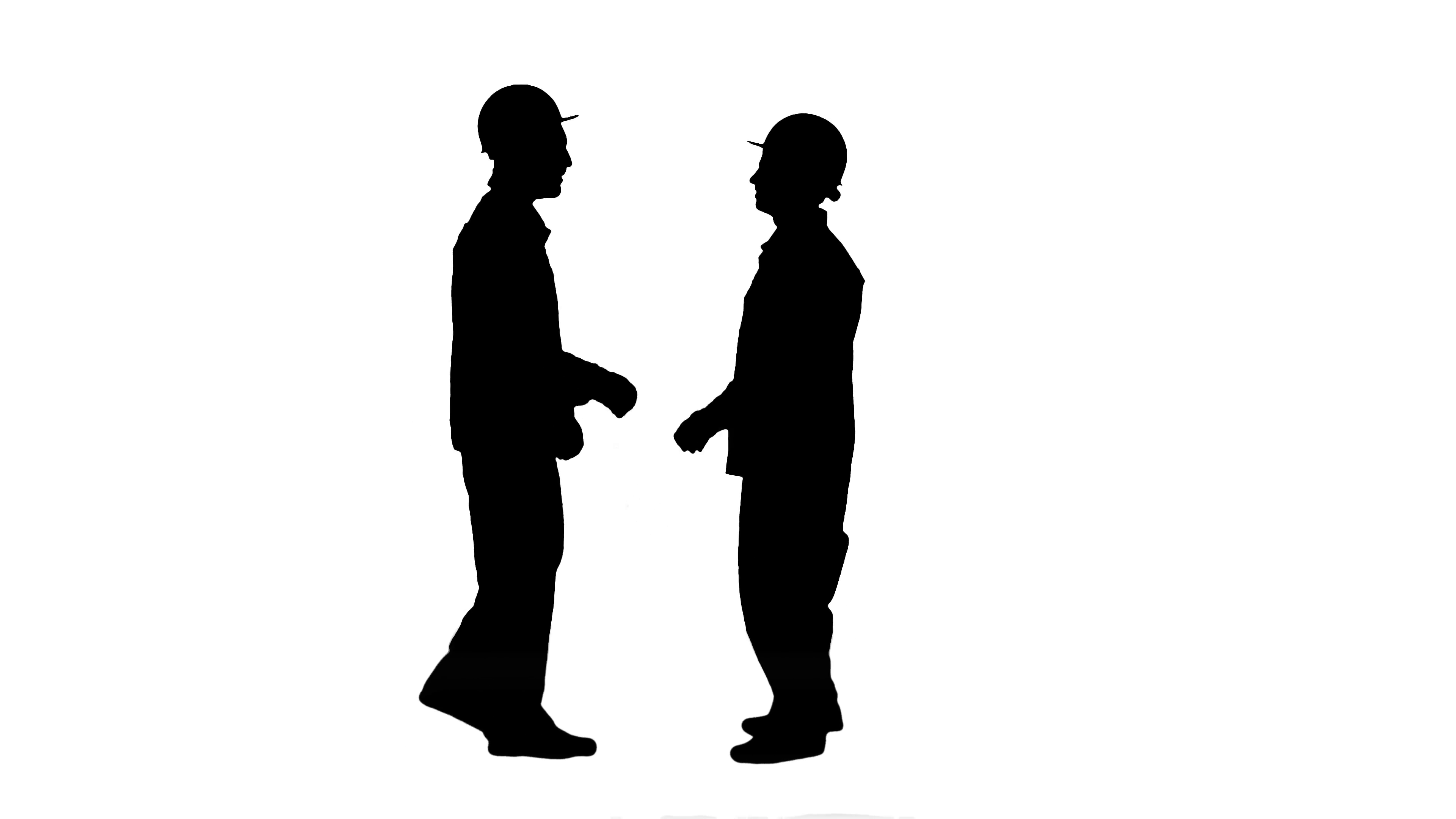 3840x2160 Silhouette Two Builder, Architects Handshaking Track Matte Stock