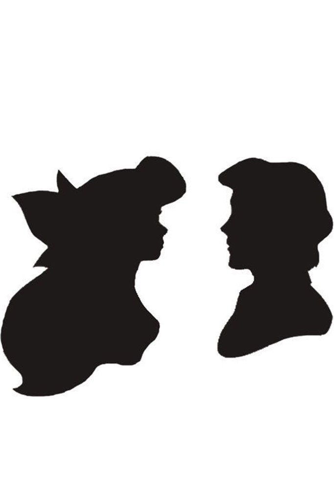 683x1024 Ariel And Eric Silhouette Ariel And Eric Temporary Tattoo Set