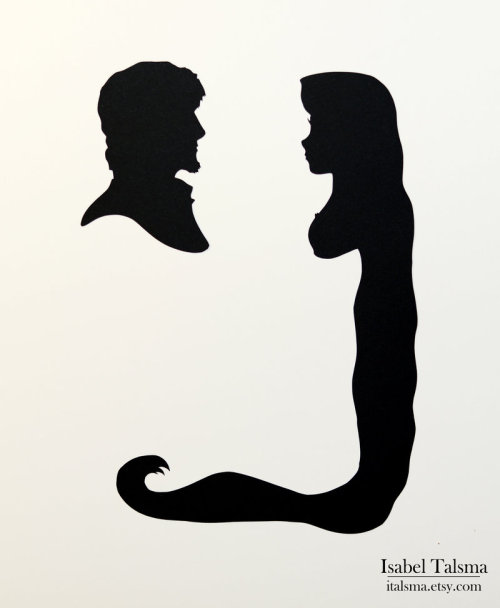 500x608 Disney Princess Ariel And Eric Silhouette