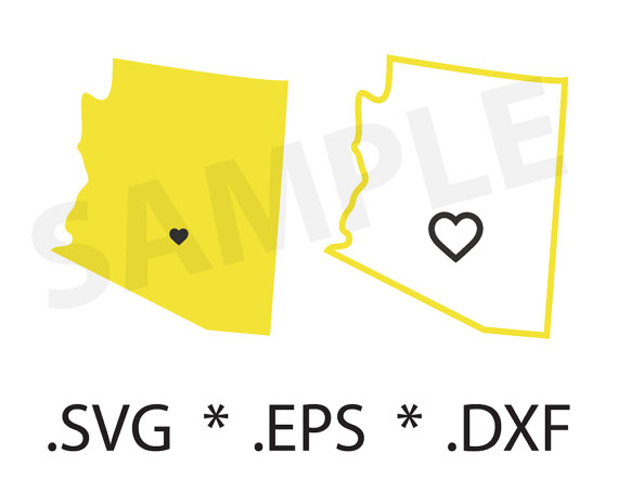 570x442 Arizona State And Outline Svg File Eps Dvf, Silhouette, Craft
