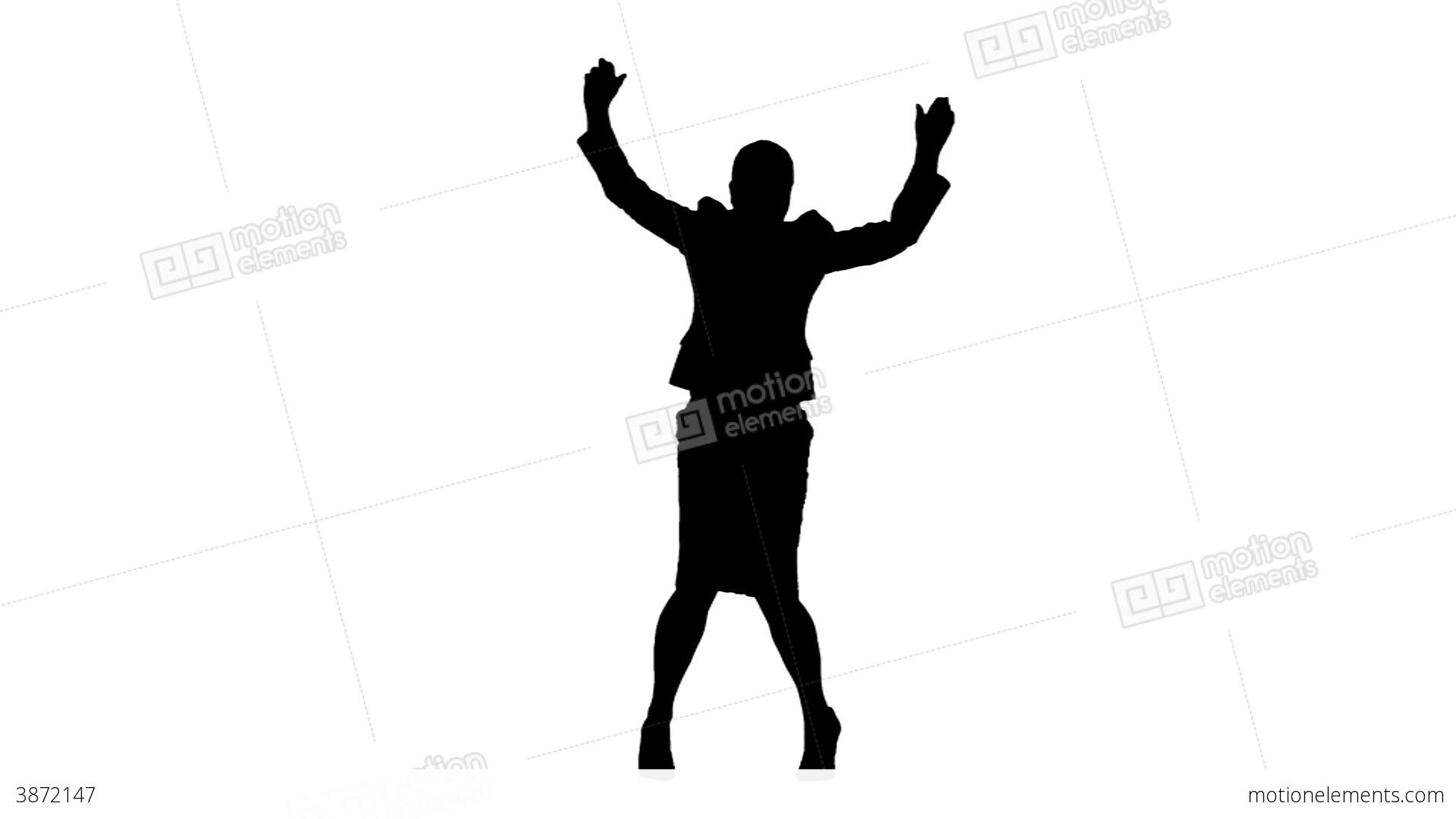1920x1080 Silhouette In Slow Motion Jumping With Arms Raised Stock Video