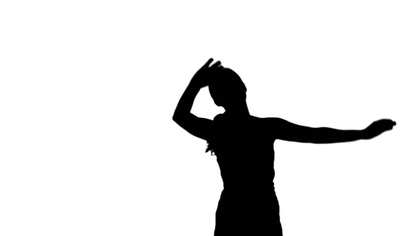 852x480 Silhouette Of Woman Raising Arms On White Background In Slow