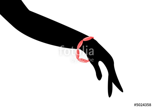 500x354 Bracelet On Female Silhouette Of Arm Hand Stock Photo