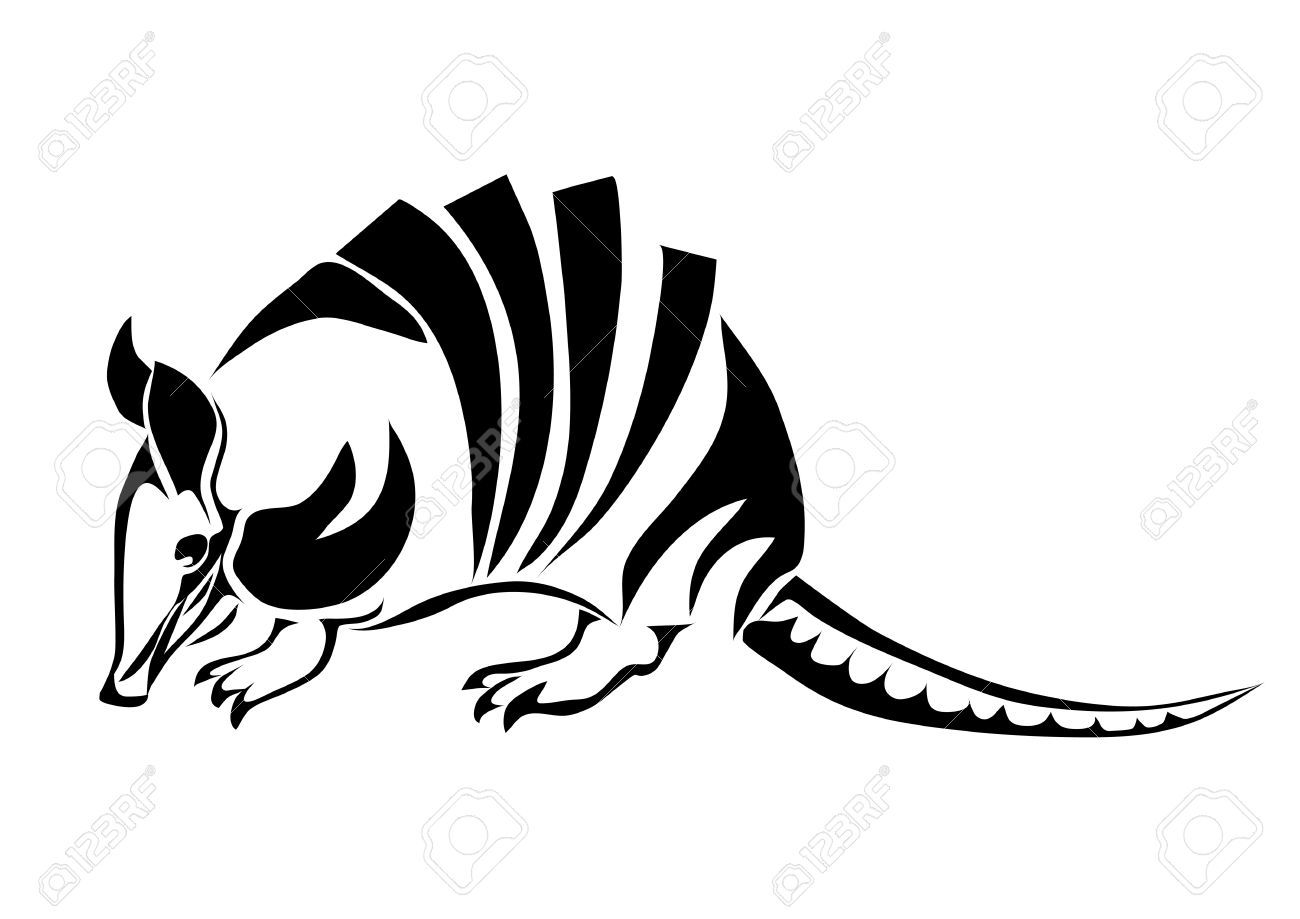 1300x919 Armadillo Silhouette Of Animal Isolated On White Royalty Free