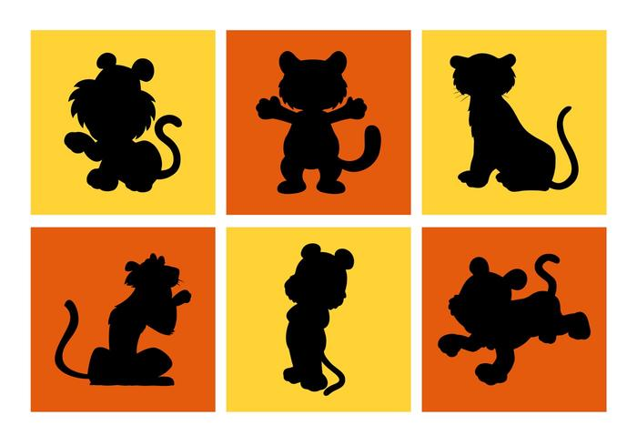 700x490 Cartoon Tiger Silhouettes Vector Free