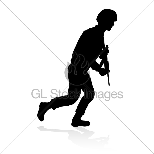 500x500 Soldier Military Detailed Silhouette Gl Stock Images