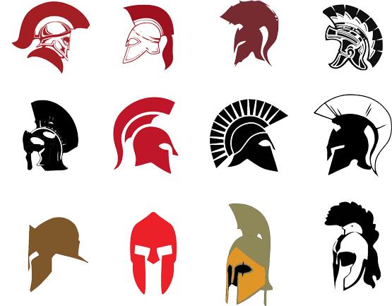 555x433 Spartan Helmet Silhouette Set Art Spartan Helmet