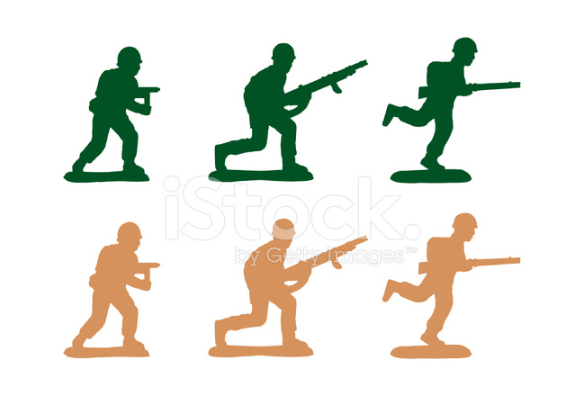 649x440 Army Men Set Of 3 (Uzi, Machine Gun, Running Rifle) Stock Vector