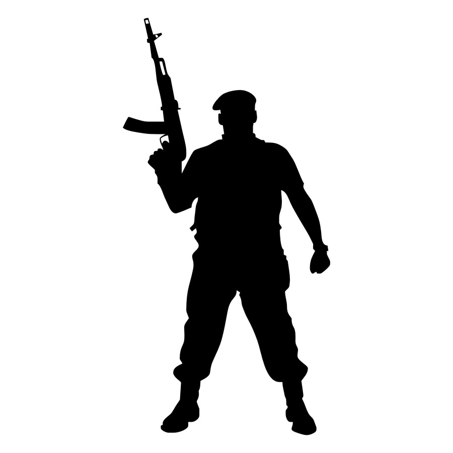 900x900 Courageous Soldier With Gun Wall Decal Cool Silhouette Wall