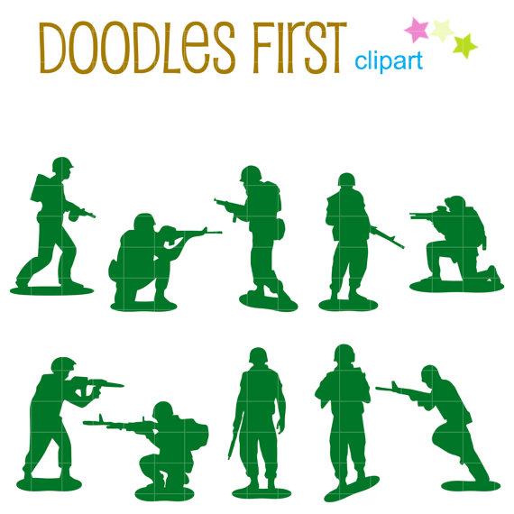 570x570 Little Army Men Silhouette Digital Clip Art For Scrapbooking