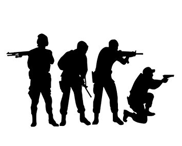 355x284 Military Swat Team Army Men Soldier Silhouette Wall