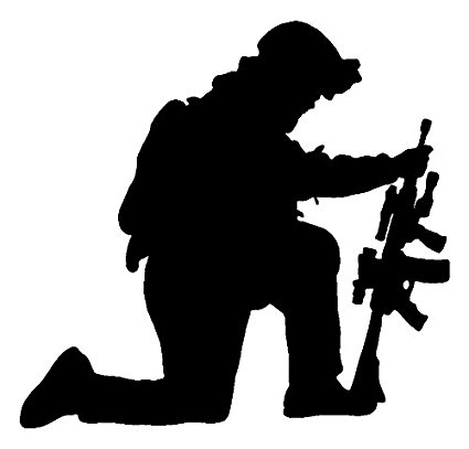 425x407 Us Military Kneeling Soldier Black Decal Window