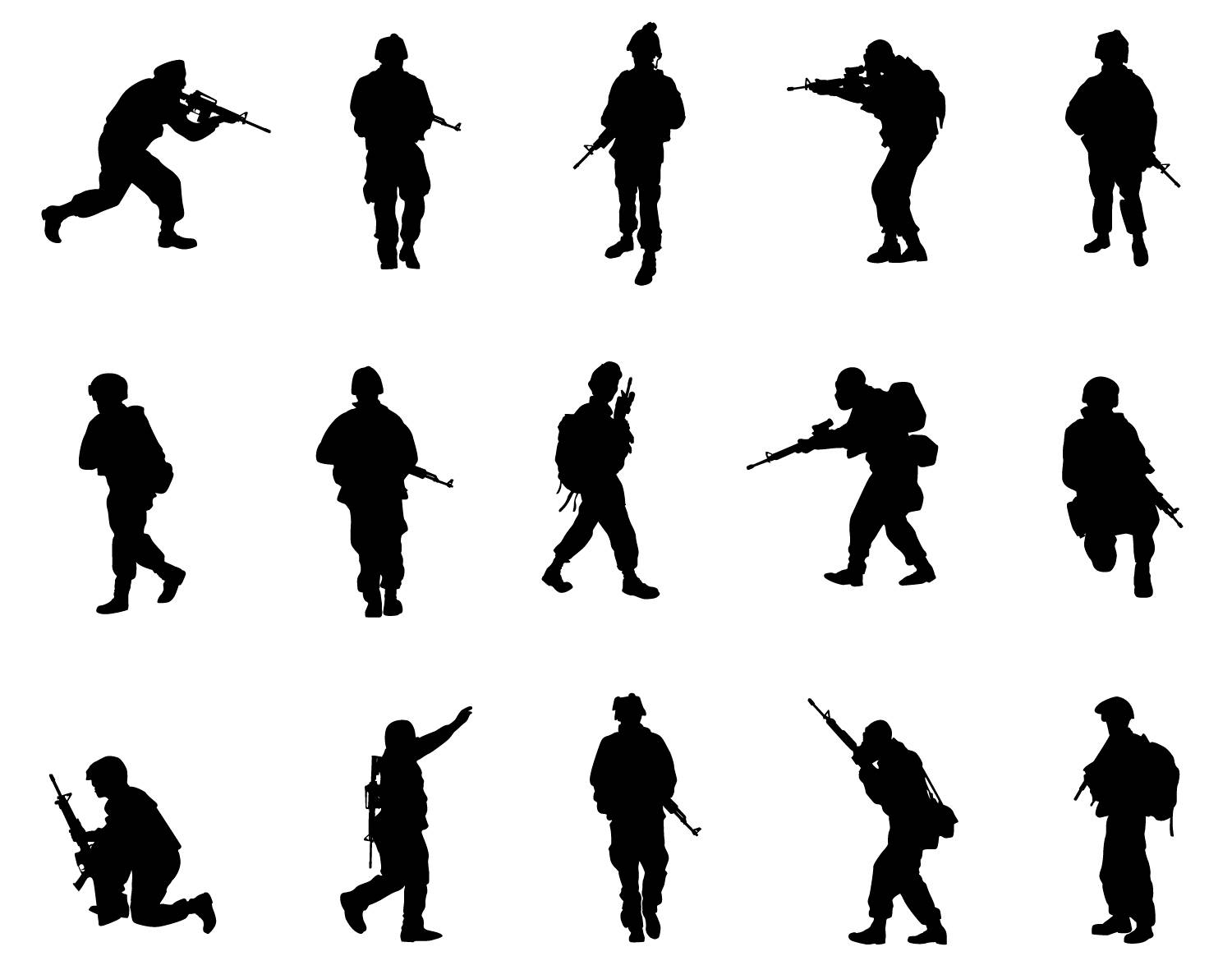 1500x1192 Warrior Soldier Army Military Clipart Silhouette People Svg Png