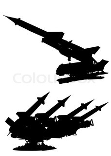 228x320 Military Vehicles Silhouette On A White Background Stock Vector