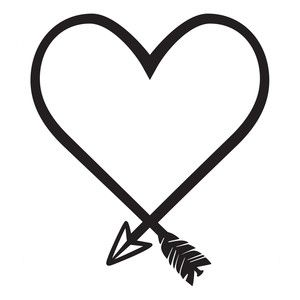 300x300 Silhouette Design Store Heart Shaped Arrow Stencil