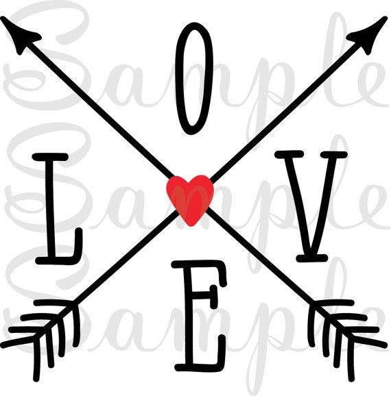 570x578 Love, Crossed Arrows, Arrow, Svg, Dfx, Jpeg, Png, Cricut