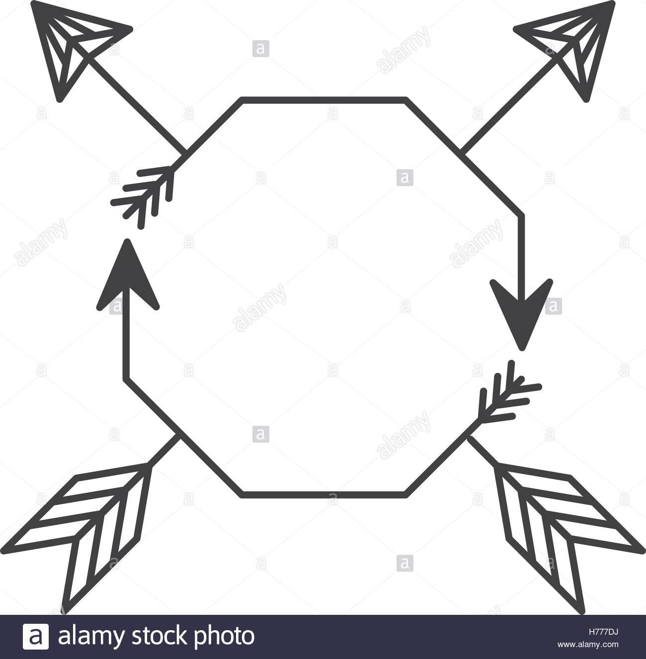 1300x1328 Silhouette With Octagon Shape And Arrows Vector Illustration Stock