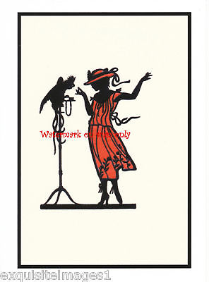 296x400 Lady W Parrot~art Deco Silhouette~ New Large Note Cards Ebay