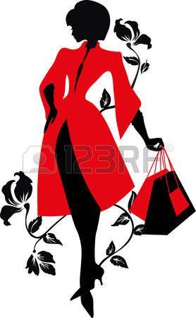 278x450 Silhouette L Gante. Belle Femme Avec Des Fleurs Et Des Sacs