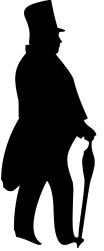208x500 Tubby Gentleman Silhouette People Wall Stickers Wall Art Decal 02
