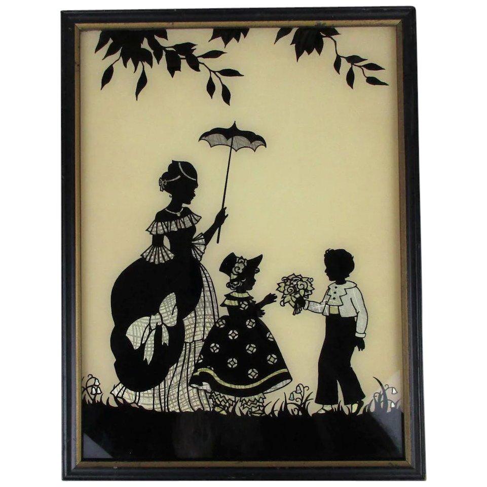 961x961 Art Deco Silhouette Picture Boy W Flowers