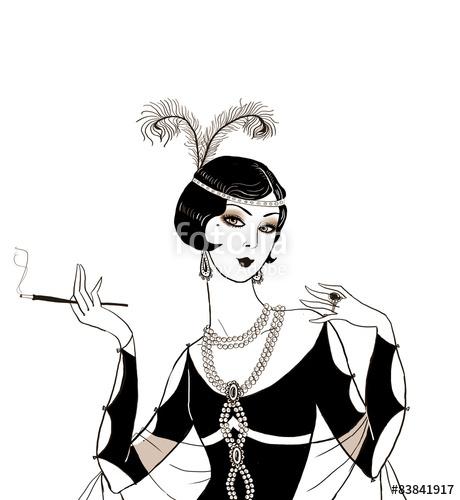 460x500 Flapper Girl Retro Party Invitation Design.art Deco Women