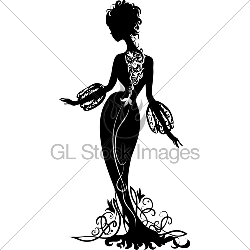 500x500 Graphic Silhouette Of A Woman Gl Stock Images