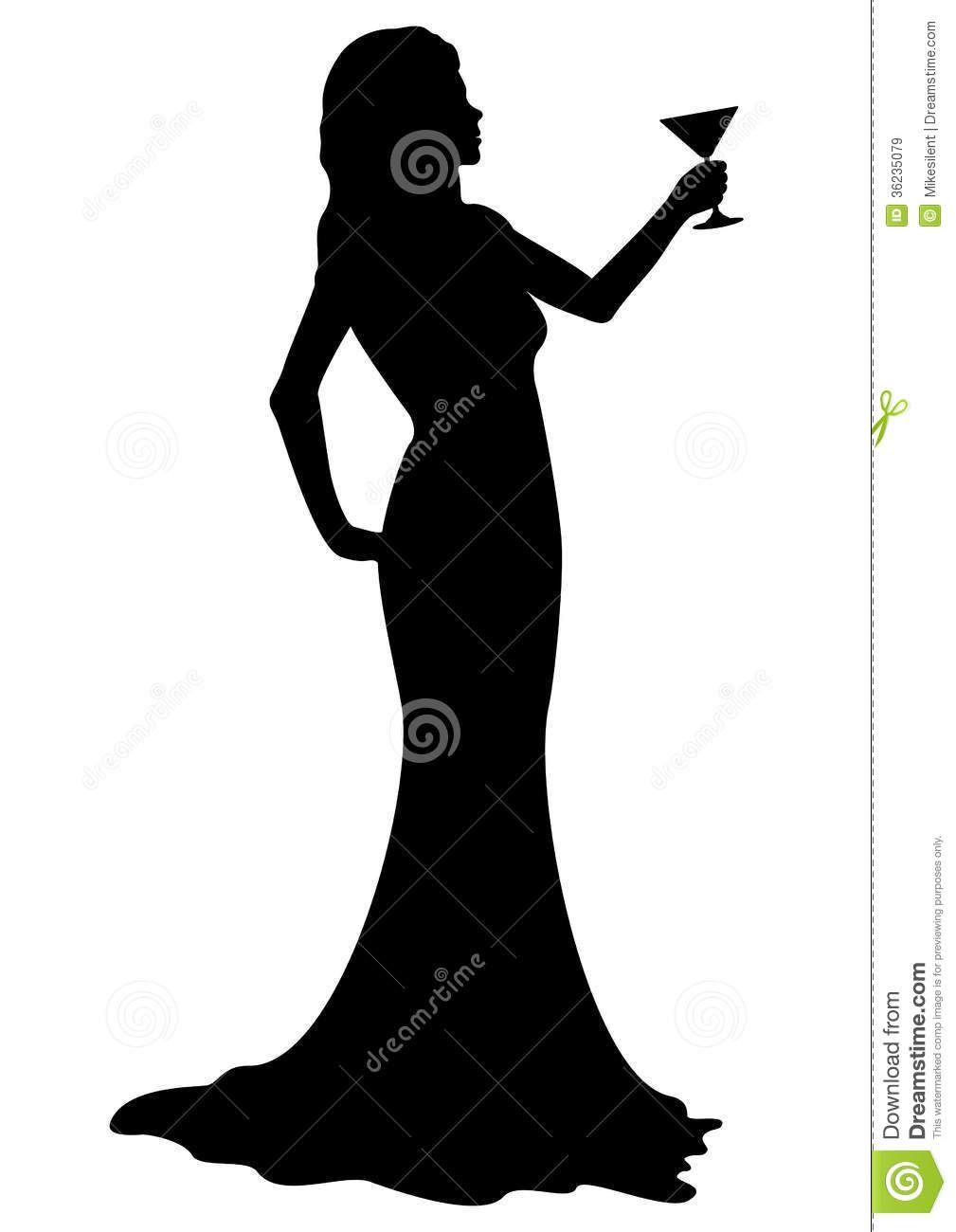 1009x1300 Silhouette Girl With Cocktail Glass Silhouettes