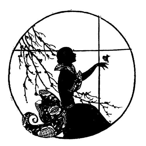 500x500 Girl With Bird. Silhouette Art Nouveau (2.5 X 3.5)