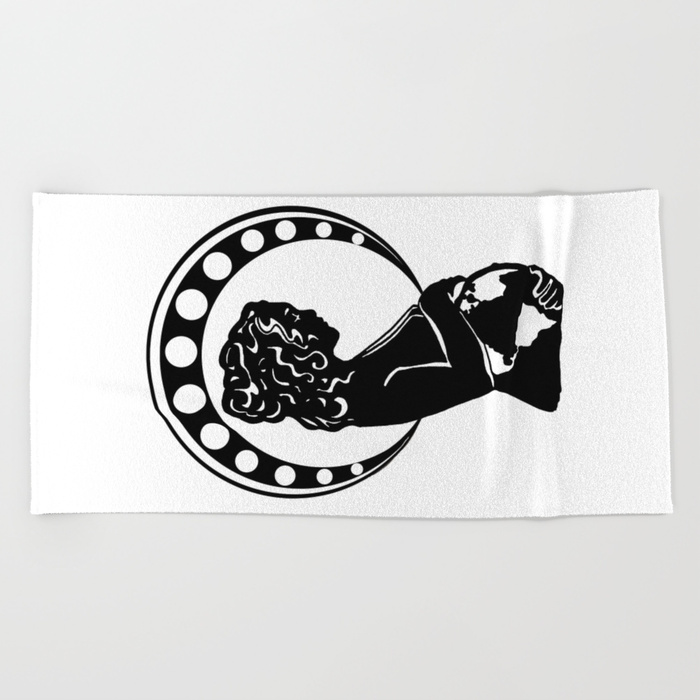 700x700 Mother Earth (Art Nouveau Silhouette) Beach Towel By Janinwise