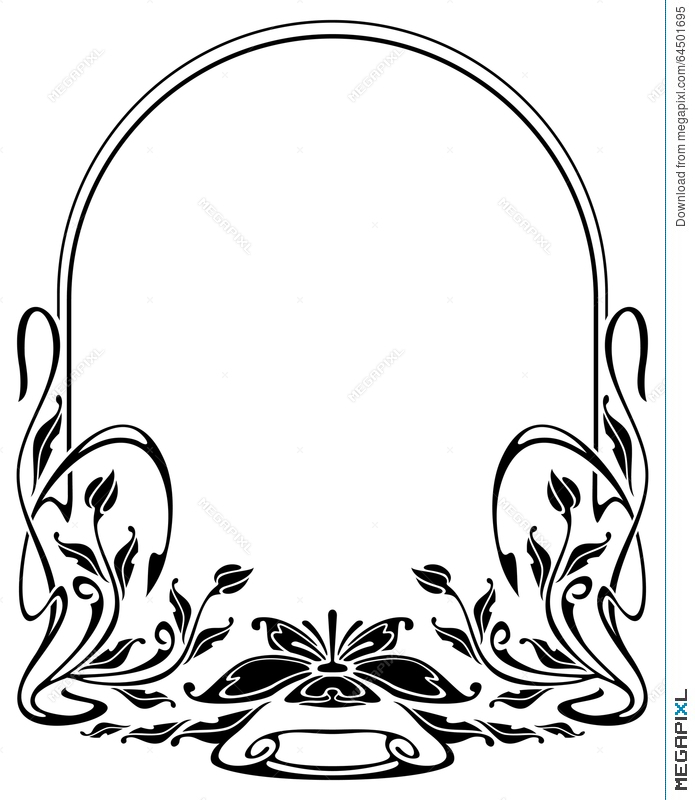695x800 Silhouette Frame In Art Nouveau Style Illustration 64501695