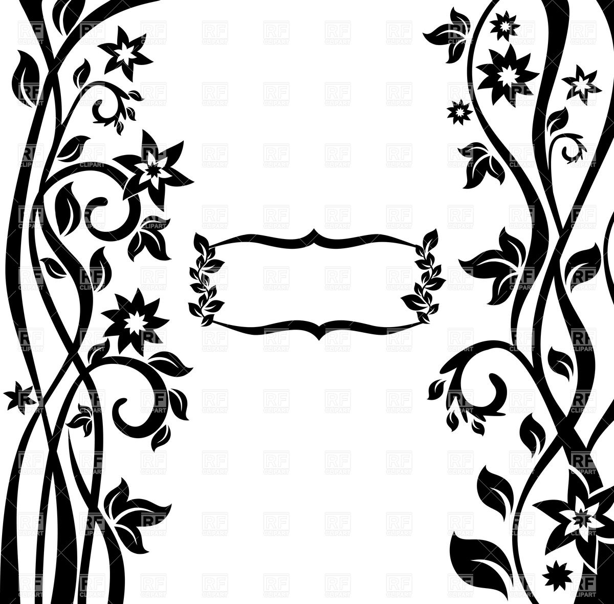1200x1180 Abstract Floral Art Nouveau Styled Frame Royalty Free Vector Clip