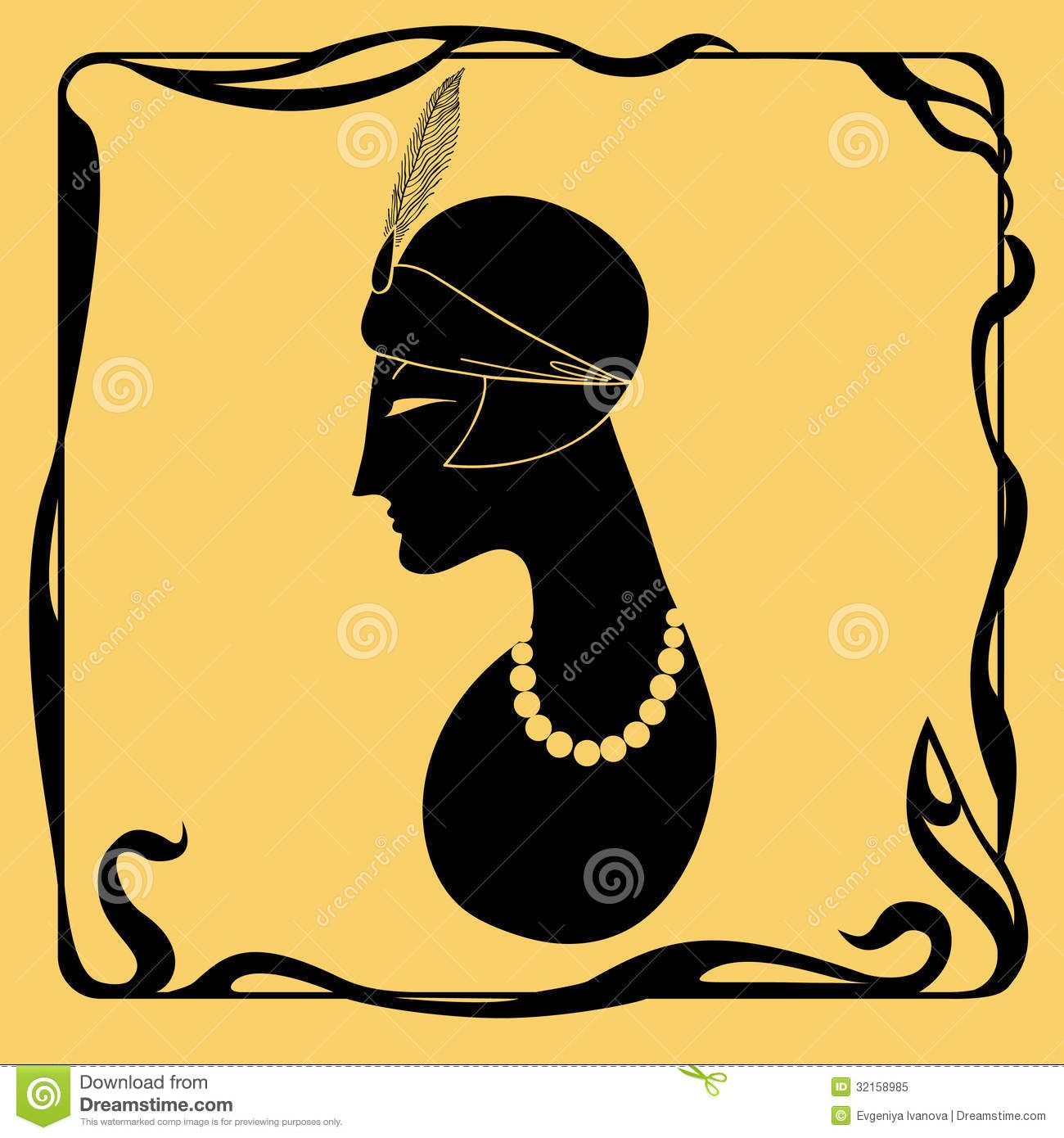 1300x1390 Art Deco Woman Silhouette Royalty Free Stock Photo