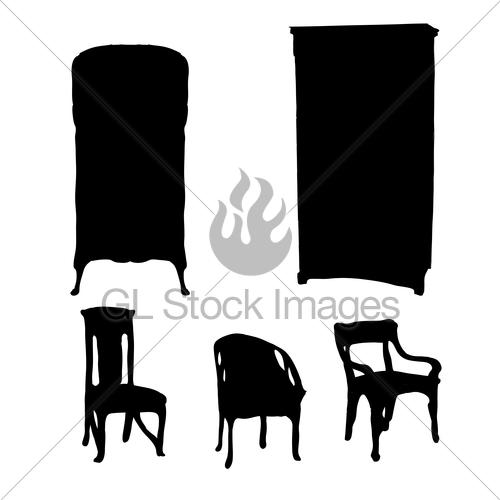 500x500 Art Nouveau Furniture Silhouettes Gl Stock Images