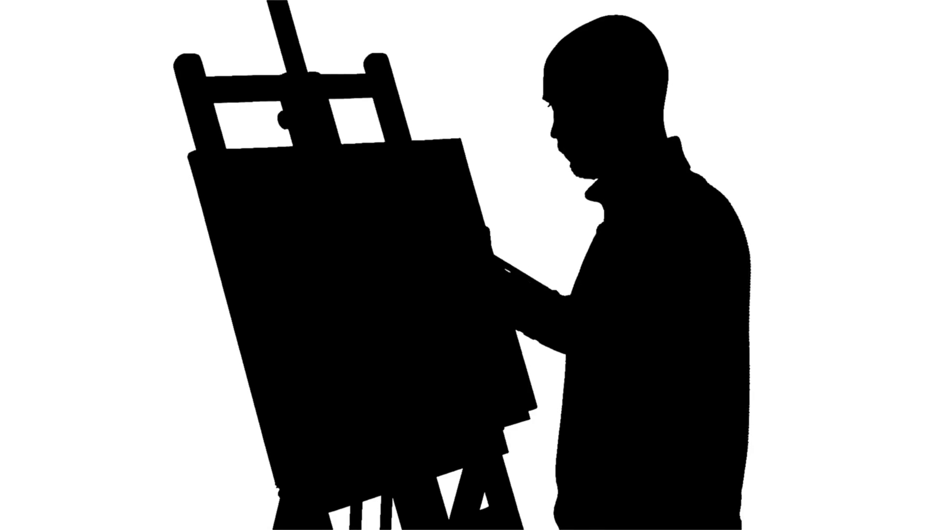 1920x1080 Bearded Painter Drawing A Painting By Oil Paints Holding