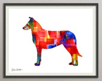 340x270 Vizsla Dog Art Print Watercolor Print Silhouette Painting