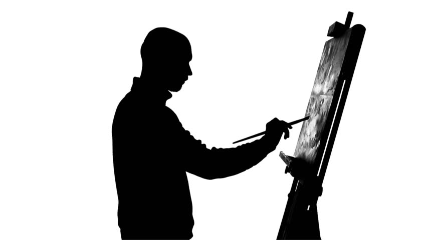 852x480 Talanted Painter Drawing A Painting By Oil Paints Holding