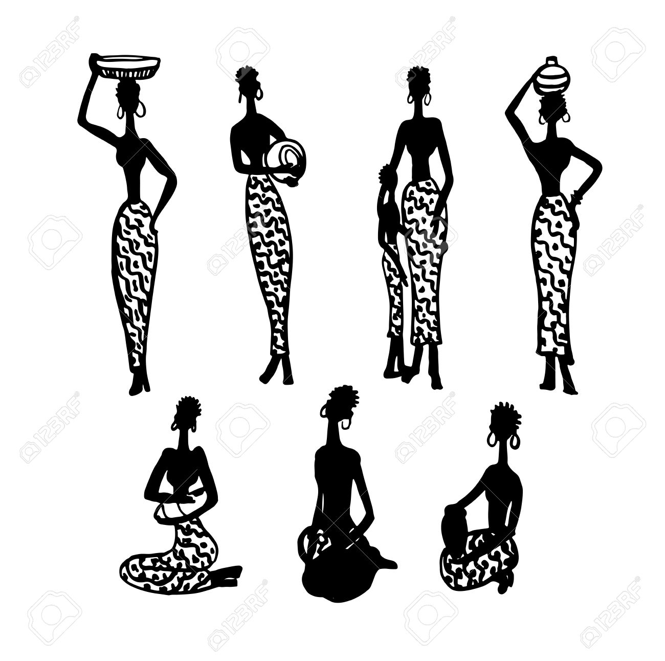 1300x1292 Stock Vector Vector Black Silhouette Of Women On A Map Of Africa