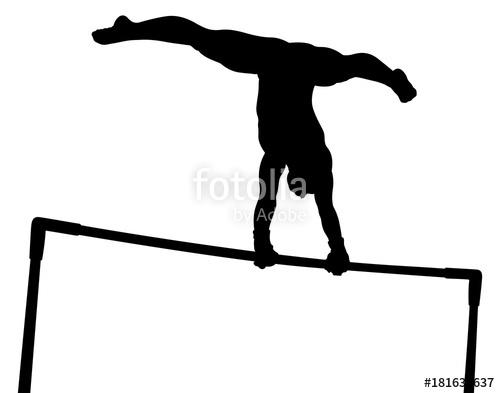 500x393 Uneven Bars Girl Gymnast In Artistic Gymnastics Black Silhouette