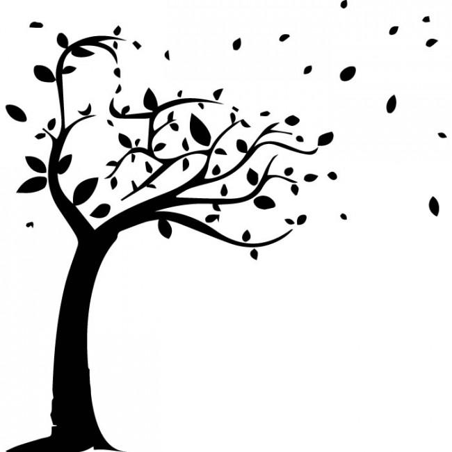 650x650 Windy Tree Silhouette Wall Sticker Nature Wall Art
