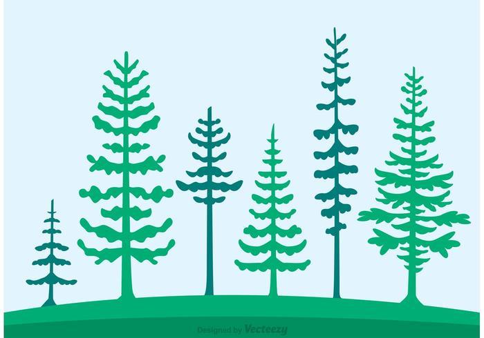 700x490 Cedar Trees Silhouette Vector